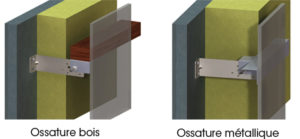 Fixation horizontale bardage bois et metallique