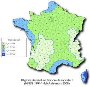 Régions de vent Eurocode 1